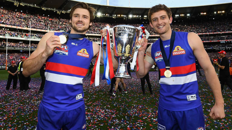 Success story: Joel Hamling (left) with Fletcher Roberts after the Bulldogs' 2016 grand final victory.
