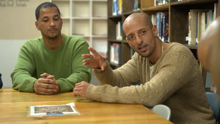 Bard students and prison inmates Lawrence Dotson (L) and Glenn Rodriguez at Fishkill Correctional Facility, last month.