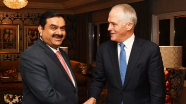 Prime Minister Malcolm Turnbull met India's Adani Group founder and chairman Gautam Adani during a visit to India this month.