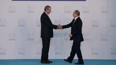 Russian President, Vladimir Putin, right, and Turkish President Recep Tayyip Erdogan.