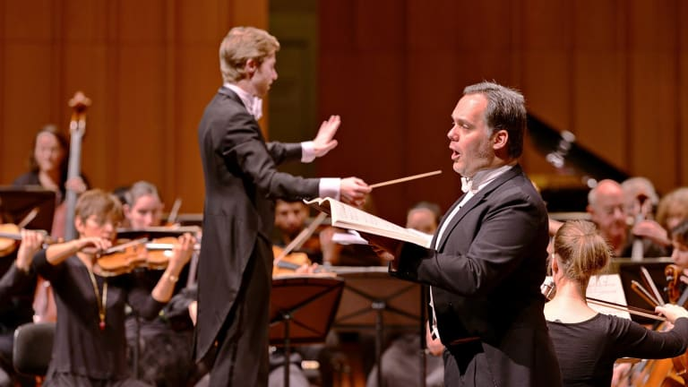Conductor Leonard Weiss and baritone Jeremy Tatchell during the concert at Llewellyn Hall.