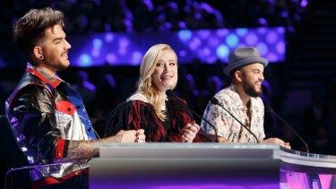 <i>X Factor Australia</i> judges (from left) Adam Lambert, Iggy Azalea and Guy Sebastian make up the 2016 panel.