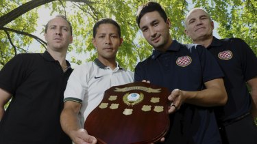 Gungahlin United coach Mitch Stevens and player Marcel Munoz, and Canberra FC captain Aidan Brunskill and coach Zoran Glavinic will be competing for the inaugural Capital Football charity shield on Friday night.