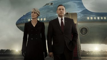 Kevin Spacey and Robin Wright in the Netflix TV drama <i>House of Cards</i>.