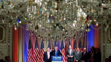 Donald Trump in the White and Gold Ballroom at The Mar-A-Lago Club during his presidential campaign.