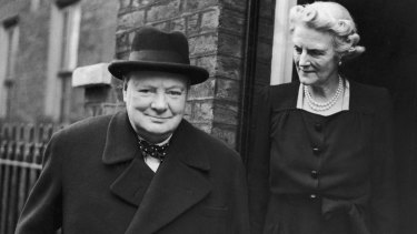 Former British prime minister Winston Churchill and his wife Clementine in 1945.