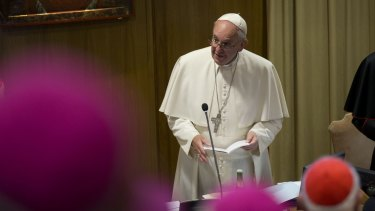 Pope Francis speaking at the synod on Saturday afternoon.