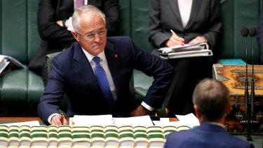 Prime Minister Malcolm Turnbull faces down Opposition Leader Bill Shorten.