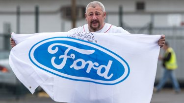 Laid-off Ford worker Nick Doria leaving the Broadmeadows plant at the end of his last shift, he's worked there for 22 years.