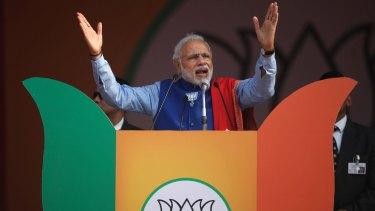 Indian Prime Minister Narendra Modi addresses a public rally in Delhi this month.