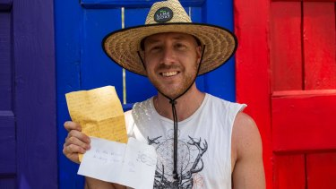 Joshua Higgs was delivered a letter by the Woodford postal service from a fellow festival goers