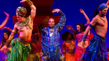 Michael James Scott as the Genie in Aladdin at the Capitol Theatre in Sydney.