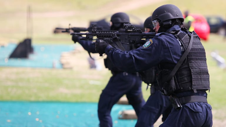 NSW police officers underwent training at the site with high-powered Colt M4 Carbine rifles.