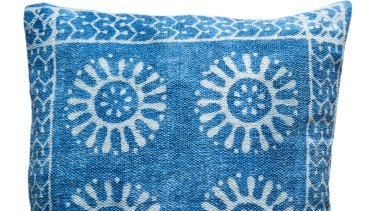 Guncha indigo cushion, $45.