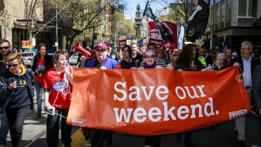 A rally organised by the ACTU protesting the continued attacks against penalty rates for workers.