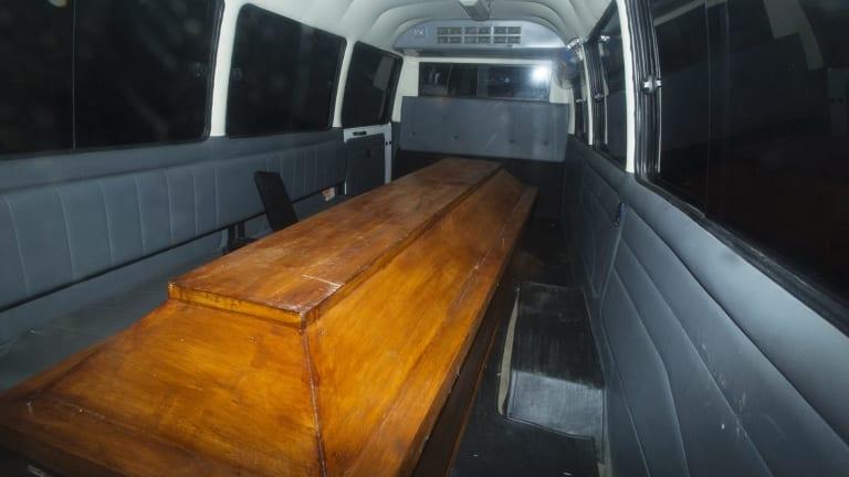 Coffins leave Wijaya Pura in Cilacap after the executions on Nusakambangan prison island.