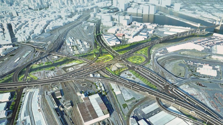 The massive new spaghetti junction to be created in West Melbourne and Docklands for the project.
