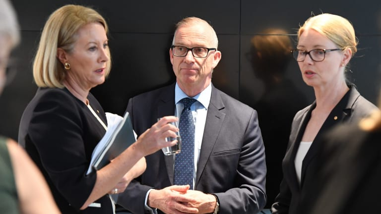Former sex discrimination commissioner Elizabeth Broderick, University of Sydney vice-chancellor Michael Spence and principal of the Women's College Amanda Bell at the launch of the review's final report.