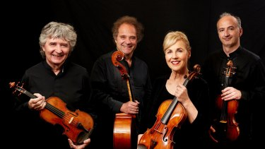 The Takacs String Quartet, from left, Karoly Schranz (second violin), Andras Fejer (cello), Geraldine Walther (viola), Edward Dusinberre (first violin), are regular visitors to Australia.
