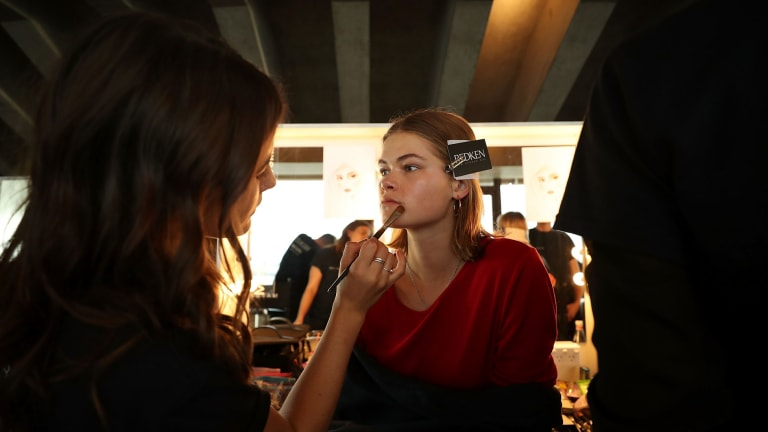 Barely there makeup application at Dion Lee's show for Mercedes-Benz Fashion Week.