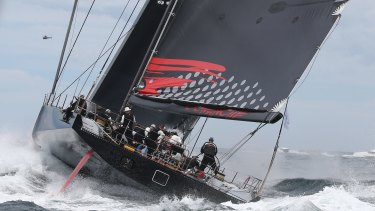 Built for speed: Comanche sails out of the Sydney heads during the 2015 race.