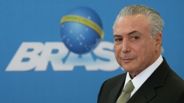 Brazil's acting President Michel Temer at the inauguration ceremony of new presidents of state companies, in Brasilia, last week.