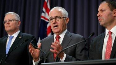 Treasurer Scott Morrison, Prime Minister Malcolm Turnbull and Minister for Environment and Energy Josh Frydenberg address the media on Wednesday.