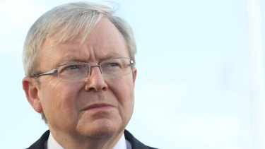 Not happy, Barrie: former prime minister Kevin Rudd.