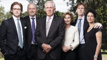 Family of Katrina Dawson, who died during the Lindt Cafe siege last December. From left, Sandy Dawson, Paul Smith, Sandy Dawson Snr, Jane Dawson, Angus Dawson and wife Nikki Dawson.