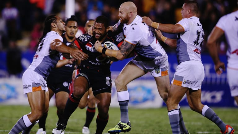 Man of the moment: Warrior Manu Vatuvei on the charge.