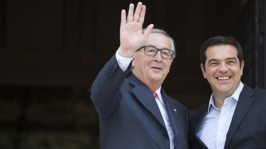 """European Commission president Jean-Claude Juncker with Greek Prime Minister Alexis Tsipras last week. The Greeks also told the EU """"no"""", only to reluctantly accept its terms later."""