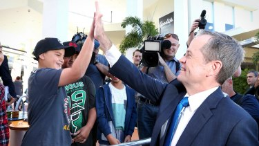 Opposition Leader Bill Shorten during a street walk in Queensland on Thursday.