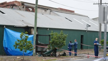 Police and forensic officers at the scene in Footscray on Thursday.