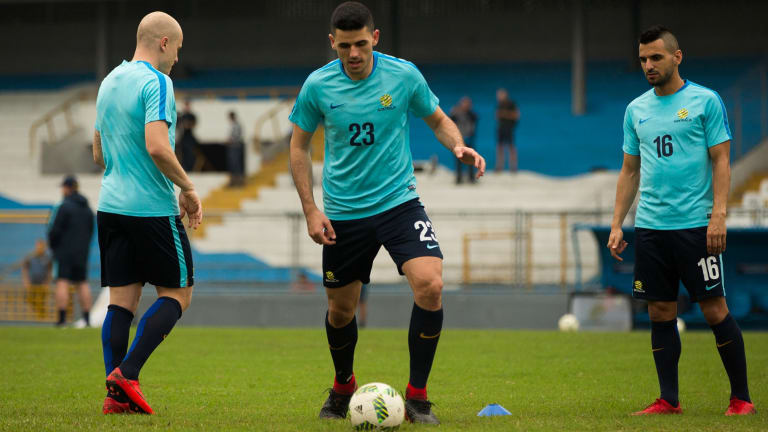 Socceroos Aaron Mooy, Tom Rogic and Aziz Behich in San Pedro Sula before the first leg against Honduras.