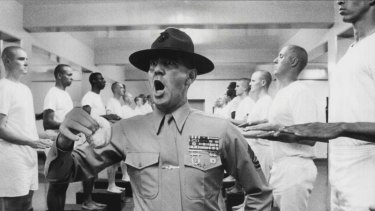 Gunnery Sergeant. Hartman (R.Lee Ermey) incensed at a transgression of barrack room rules in the 1987 film Full Metal Jacket.