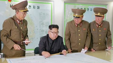 A video broadcast by North Korean television last month shows Kim Jong-un receiving a military briefing in Pyongyang.