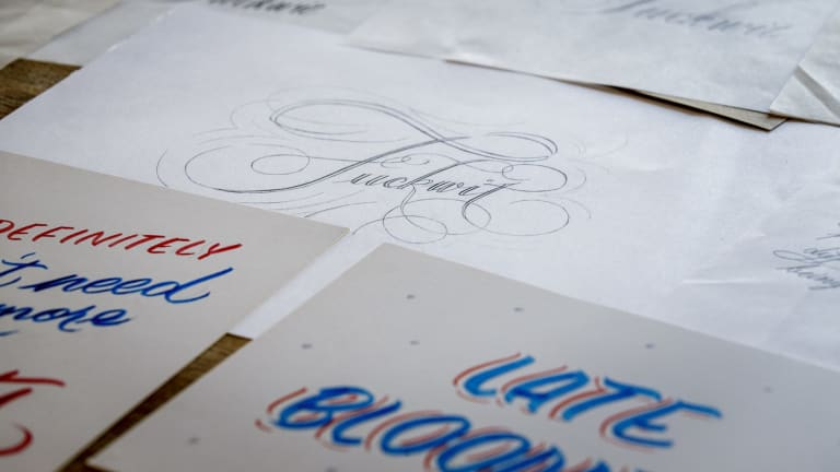 Putting the curse into cursive as copperplate letters sweeten the message.
