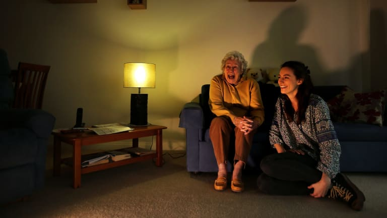 Nora Pasfield 84 (left) and Annabelle McClean 23 (right) at Nora's home in Manly. Both agree with the home share proposal where the elderly and the young house share.