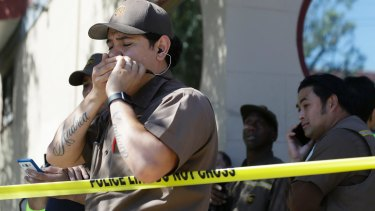 UPS workers outside the facility in San Francisco.