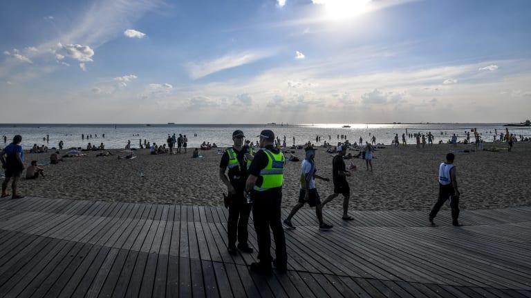 The boardwalk at St Kilda Beach replicates a tide washing ashore.