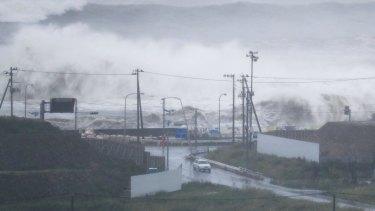 Waves crash against the coast in Ishinomaki, Miyagi prefecture, northeastern Japan on Tuesday.
