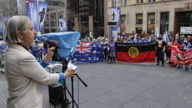 Greens Senator Lee Rhiannon addresses the rally against the Trans-Pacific Partnership (TPP), in Martin Place.