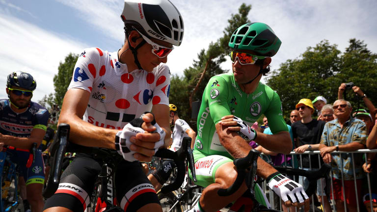 Sunweb teammates: King of the Mountains Warren Barguil and green jersey Michael Matthews.