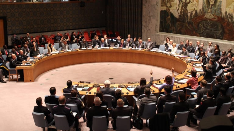 Foreign Minister Julie Bishop addresses the United Security Council on the Ebola outbreak in November, 2014.