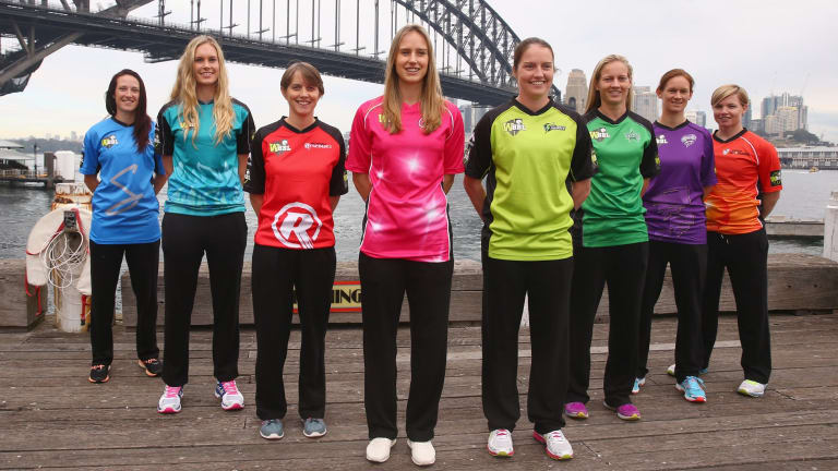 Women's Big Bash League launch: (From left) Megan Schutt, Holly Ferling, Sarah Elliott, Ellyse Perry, Rene Farrell, Meg Lanning, Julie Hunter and Jess Cameron.