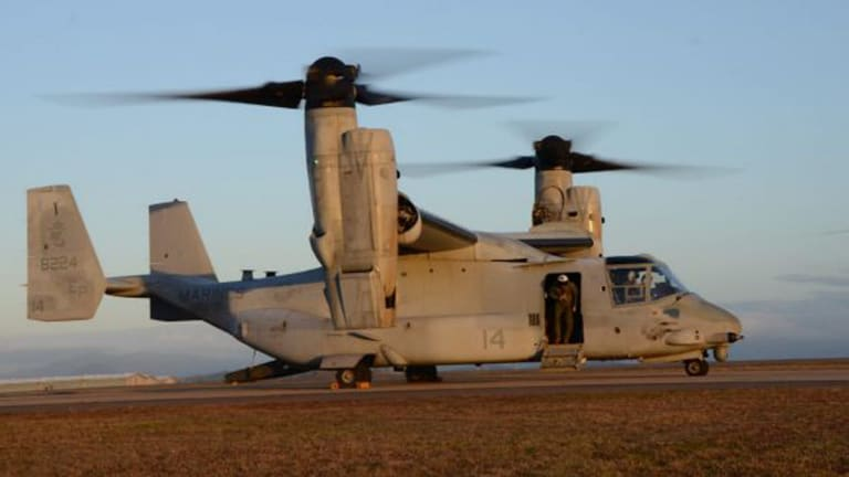 An MV-22 Osprey pictured at the RAAF Base in Townsville.
