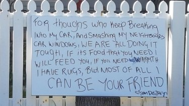 Sam de Sillery erected a sign on her front fence.