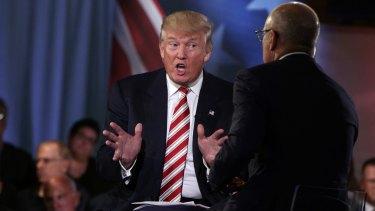 Republican presidential candidate Donald Trump speaks Matt Lauer at the NBC Commander-In-Chief Forum.
