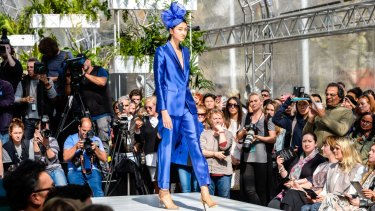 The Carla Zampatti electric blue suit will turn heads at the races.