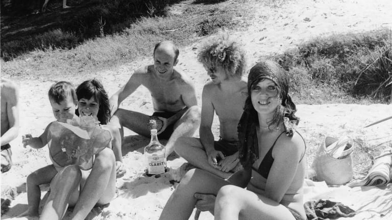 Brett and Wendy at Chinaman's Beach, early 1971, in a still from the documentary Whiteley.